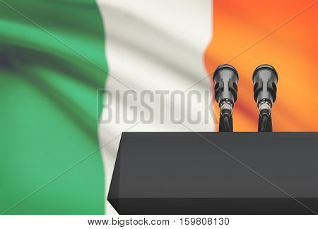 Pulpit And Two Microphones With A National Flag On Background - Ireland