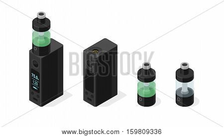 Isometric vector icon set of electronic cigarette and vaping e-liquid into atomizer tank. Modern box mod personal vaporizer variable voltage device  3d illustration isolated on white background