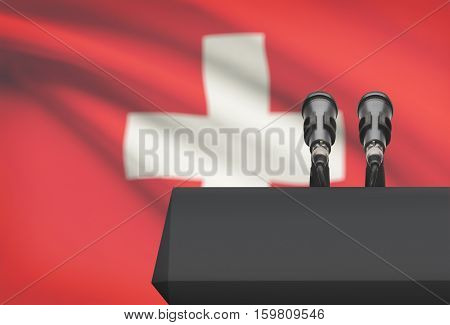 Pulpit And Two Microphones With A National Flag On Background - Switzerland