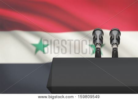Pulpit And Two Microphones With A National Flag On Background - Syria