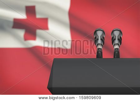 Pulpit And Two Microphones With A National Flag On Background - Tonga