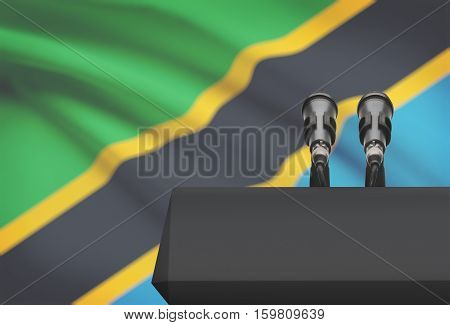 Pulpit And Two Microphones With A National Flag On Background - Tanzania