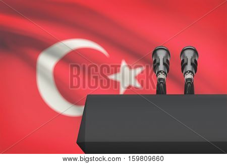 Pulpit And Two Microphones With A National Flag On Background - Turkey
