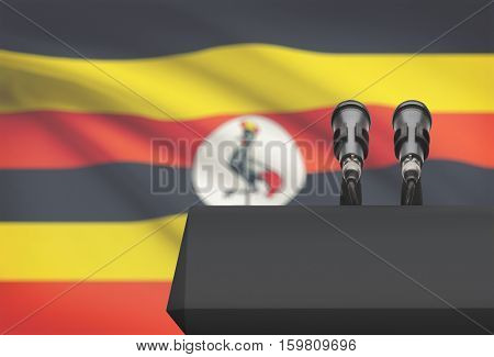 Pulpit And Two Microphones With A National Flag On Background - Uganda