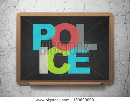 Law concept: Painted multicolor text Police on School board background, 3D Rendering