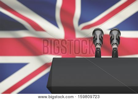 Pulpit And Two Microphones With A National Flag On Background - United Kingdom