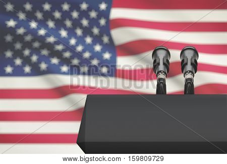 Pulpit And Two Microphones With A National Flag On Background - United States