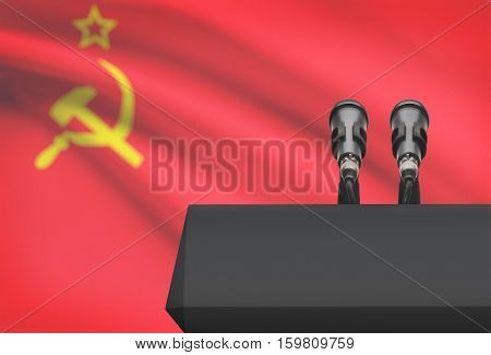 Pulpit And Two Microphones With A National Flag On Background - Soviet Union - Ussr