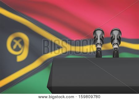 Pulpit And Two Microphones With A National Flag On Background - Vanuatu