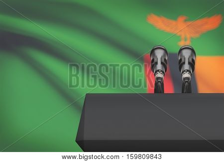 Pulpit And Two Microphones With A National Flag On Background - Zambia