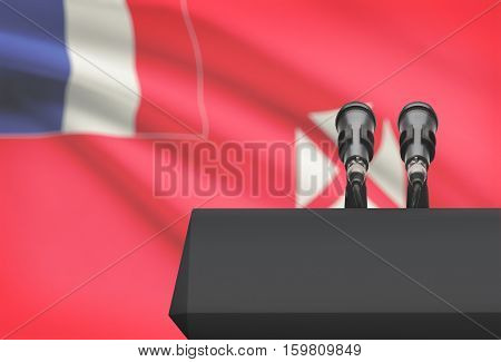Pulpit And Two Microphones With A National Flag On Background - Wallis And Futuna