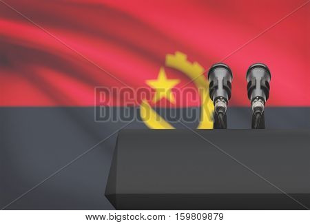 Pulpit And Two Microphones With A National Flag On Background - Angola