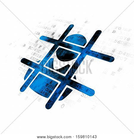 Law concept: Pixelated blue Criminal icon on Digital background