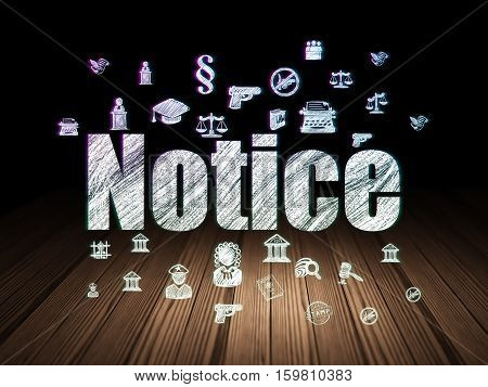 Law concept: Glowing text Notice,  Hand Drawn Law Icons in grunge dark room with Wooden Floor, black background