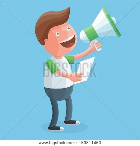 Happy young man screaming into a megaphone in his hands. Funny businessman character holding loudspeaker. Colorful flat vector illustration