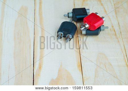 RCA Jack for audio system on wooden
