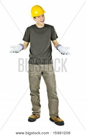 Smiling Construction Worker Shrugging