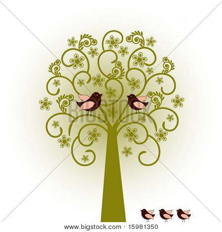 coil tree with birds
