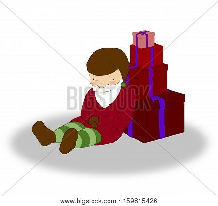 illustration of Christmas sleeping elf with a lot of red gift boxes