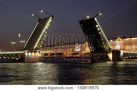 View of the open Palace Bridge. Saint-Petersburg Russia