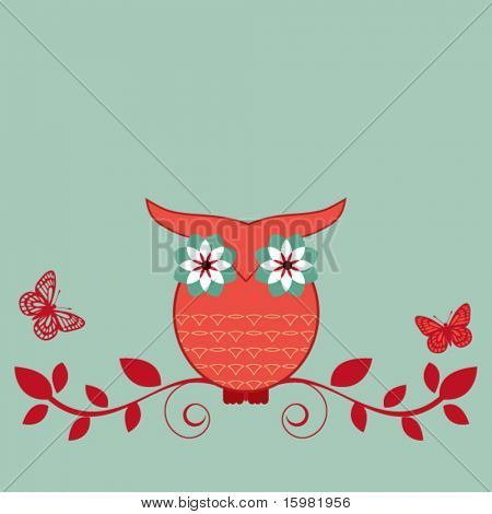 whimsical owl on bough
