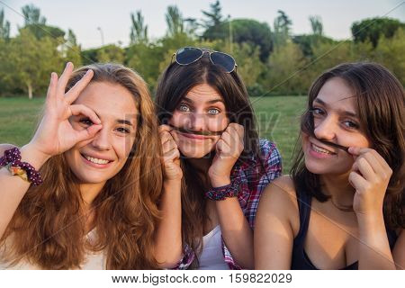 Girls enjoying while making silly in the park. They are making jokes and grimaces enjoying holiday. They are friends and they are imitating mustache with their hair.