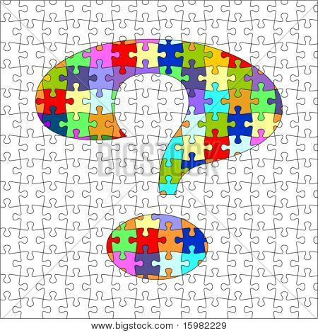 Puzzle with question mark -exact fit - (full puzzle behind - layered for easy editing)