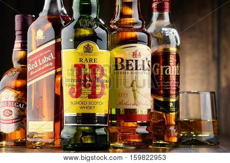 POZNAN POLAND - NOV 23 2016: Whiskey is the most popular liquor in the world. Originated probably in Ireland now it is produced also in India Scotland USA Canada and Japan.