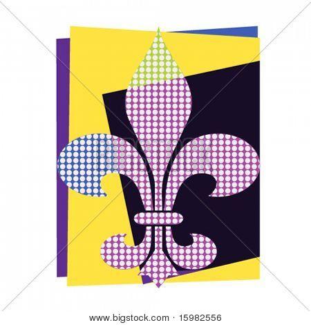 Art-Deco Fleur de Lis mit Punkten
