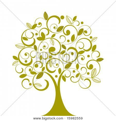 Funky tree coils and decorative leaves - individual elements for changes