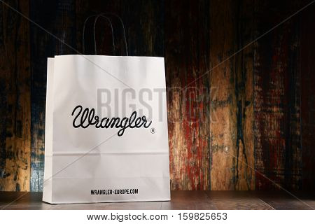 POZNAN POLAND - NOV 25 2016: Wrangler is an American manufacturer of jeans and other clothing items owned by the VF Corporation headquartered in Greensboro North Carolina USA