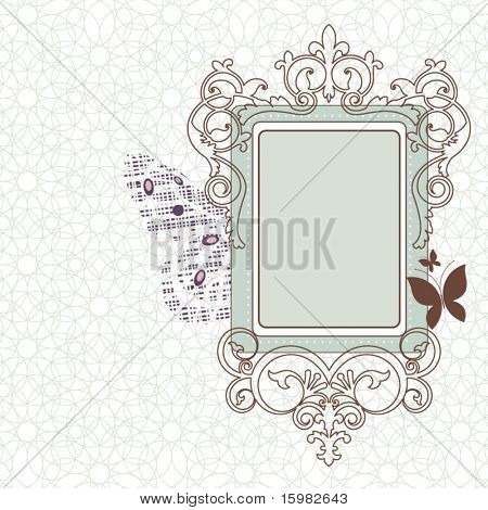 Vintage frame with butterflies background pattern (full grunge butterfly behind frame on left) pattern behind one piece