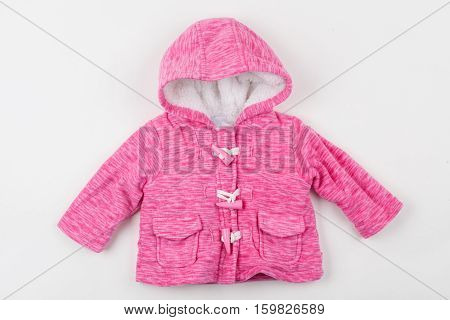Cute pink children's winter jacket with hood