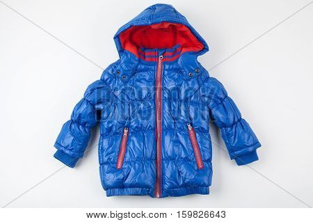 Cute blue children's winter jacket with hood