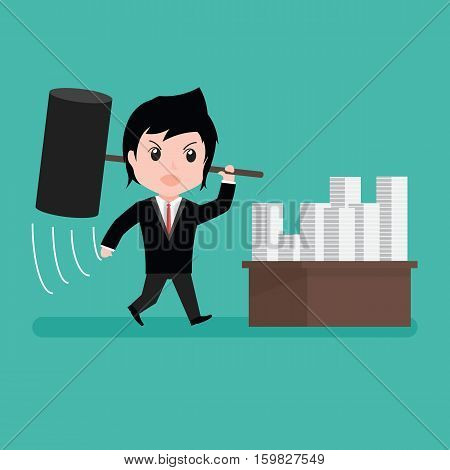 Businessman Furious Frustrated Hitting Papers With Cartoon .