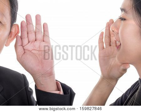 Woman speak to businessman and businessman listen to woman on isolated / white background