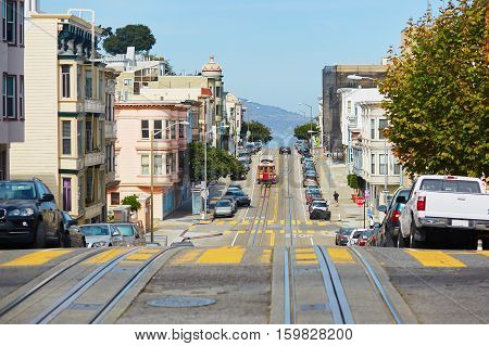 Cable Car In San Francisco, Usa