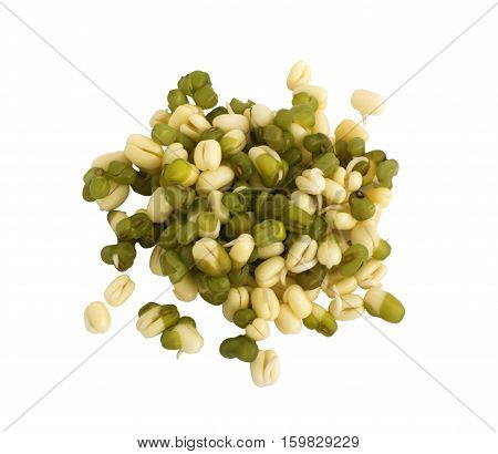 Sprouted green and light mung beans isolated on white background