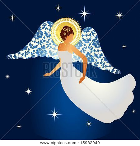 Angel with damask pattern on  wings