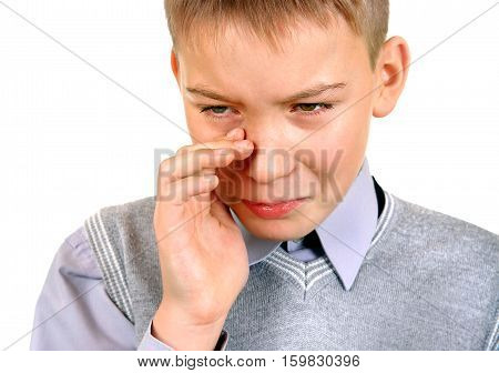 Sorrowful Kid Isolated on the White Background