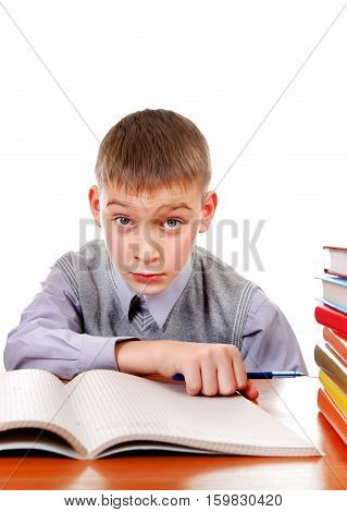 Kid on the School Desk Isolated on the white background