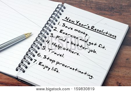 List Of New Year's Resolution On Notepad, Vintage Style.