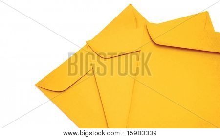 manila envelopes on white background with copy space