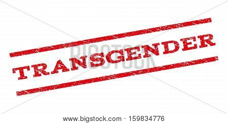 Transgender watermark stamp. Text caption between parallel lines with grunge design style. Rubber seal stamp with scratched texture. Vector red color ink imprint on a white background.