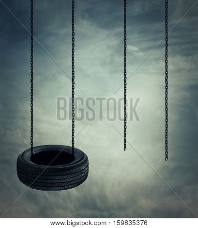 Two swings on a cloudy sky background one whole and another broken. Adventure. leadership and opposition concept.