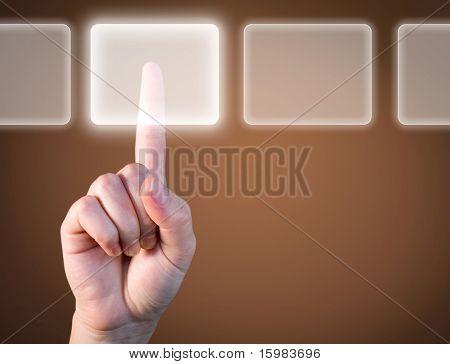 Escolha a melhor opção - conceito de toque de tecnologia