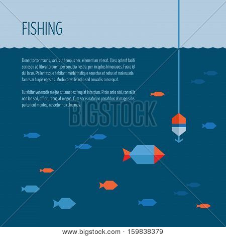 Fishing banner. Fishing concept, flat style, vector illustration.