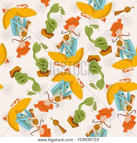 Indian snake charmer. Seamless background pattern. Vector illustration.