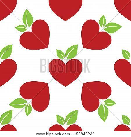 Red Apple Heart seamless on white background. Vector illustration