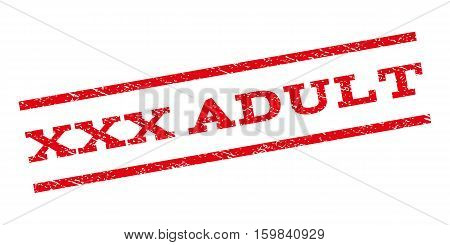 XXX Adult watermark stamp. Text caption between parallel lines with grunge design style. Rubber seal stamp with scratched texture. Vector red color ink imprint on a white background.
